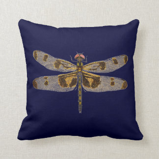 Banded Pennant Dragonfly on Navy Blue Throw Pillow