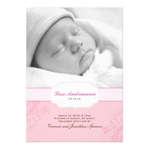 Banded Swirls Birth Announcement in Pink