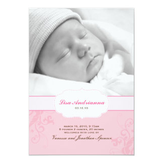 "Banded Swirls Birth Announcement in Pink 5"" X 7"" Invitation Card"