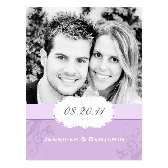 Banded Swirls Save the Date Photo Postcard