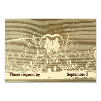 Banded Wood Lace gold tint rsvp with envelopes 9 Cm X 13 Cm Invitation Card