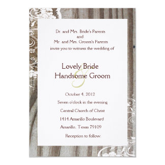 Banded Wood Shabby Lace Wedding Invitation, White Card