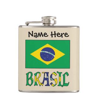Bandeira do Brasil e Brasil Come o Nome Hip Flask