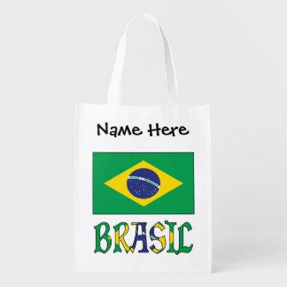 Bandeira do Brasil e Brasil Come o Nome Reusable Grocery Bag