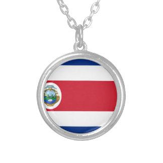 Bandera de Costa Rica - Flag of Costa Rica Silver Plated Necklace