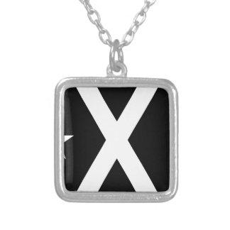 Bandera Negra - Estelada Catalunya Flag Silver Plated Necklace