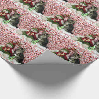 Bandit Cat Kitten Christmas Rescue Wrapping Paper