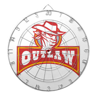 Bandit With Outlaw Text Retro Dartboard