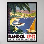 Bandol Cote D'azur France Travel Poster Print Print