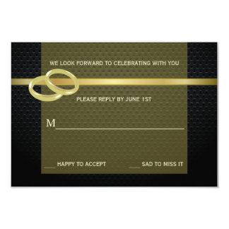 Bands of Gold Reply Card 9 Cm X 13 Cm Invitation Card