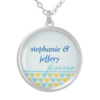 Bands of hearts blue couple names forever love custom jewelry