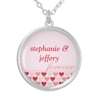 Bands of hearts red pink couple names forever love round pendant necklace