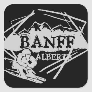 Banff Alberta Canada black gray ski logo stickers