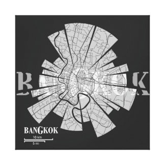 Bangkok Map Wrapped Canvas Gallery Wrap Canvas
