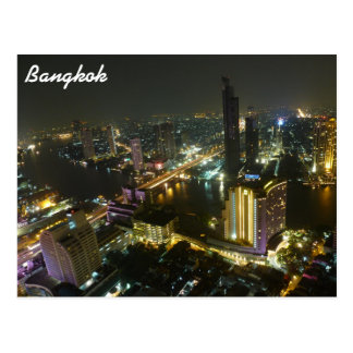 Bangkok skyline at night postcard