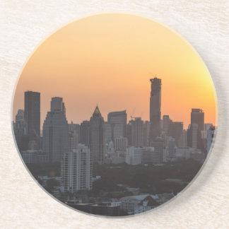 Bangkok skyline sunset panorama background coasters