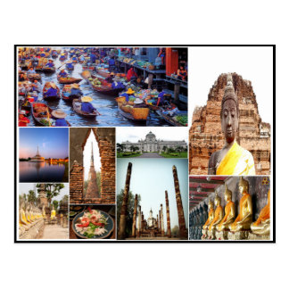 Bangkok temple collage colorful pictures postcard