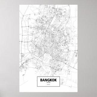 Bangkok, Thailand (black on white) Poster