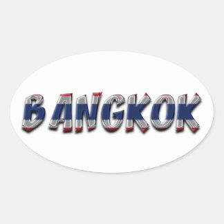 Bangkok Thailand Thai Flag Colors Typography Oval Sticker