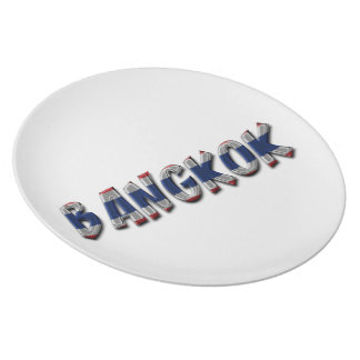 Bangkok Thailand Thai Flag Colors Typography Plate