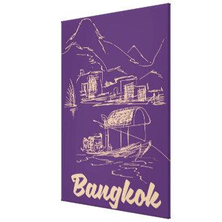 Bangkok, Thailand travel poster Canvas Print