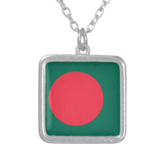 Bangladesh Flag Silver Plated Necklace