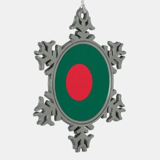 Bangladesh Flag Snowflake Pewter Christmas Ornament