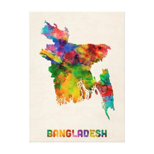 Bangladesh Watercolor Map Stretched Canvas Print