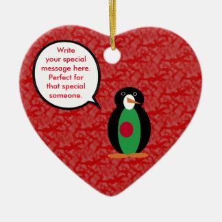 Bangladeshi Holiday Mr. Penguin Ceramic Heart Decoration