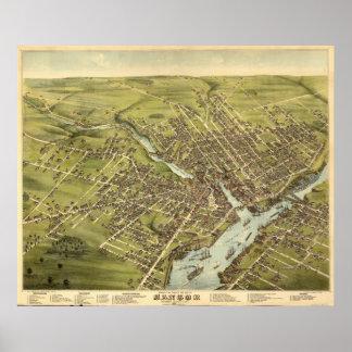 Bangor Maine 1875 Antique Panoramic Map Poster