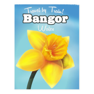 Bangor, Wales vintage Daffodil travel poster Postcard