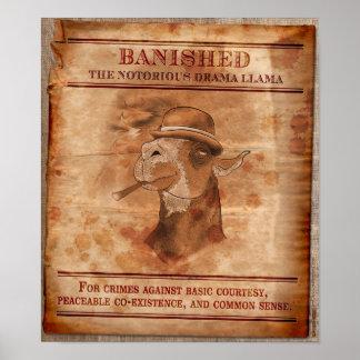 """Banish Drama Llamas - 12"""" x 14"""" Poster"""