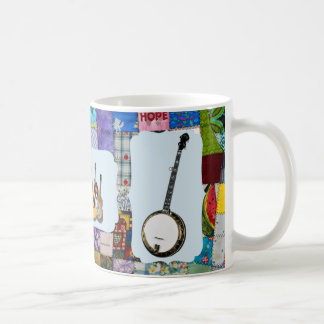 BANJO--BLUEGRASS BAND-QUILTED COFFEE MUG
