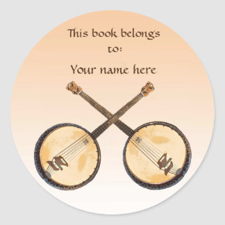 Banjo Music Instrument on Orange Bookplate Classic Round Sticker
