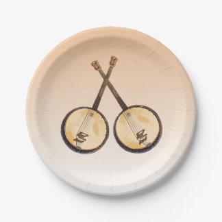Banjo Music Instruments on Orange Paper Plates 7 Inch Paper Plate