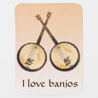 Banjo Musical Instrument Orange Baby Blanket