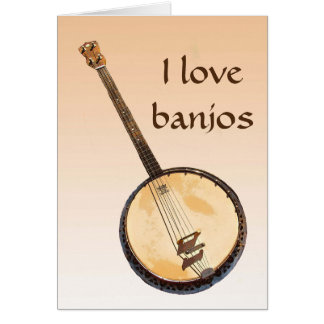 Banjo Musical Instrument Orange Blank Card