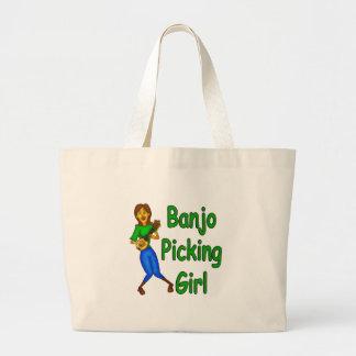 Banjo Picking Girl Large Tote Bag