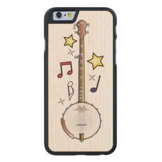 Banjo with Notes and Stars Carved Maple iPhone 6 Case