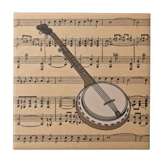 Banjo With Sheet Music Background Ceramic Tile