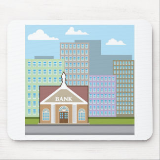 Bank building city sky vector mouse pad