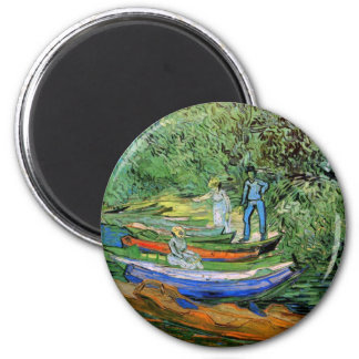 Bank of the Oise at Auvers by Vincent van Gogh 6 Cm Round Magnet