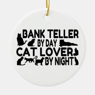 Bank Teller Cat Lover Round Ceramic Decoration