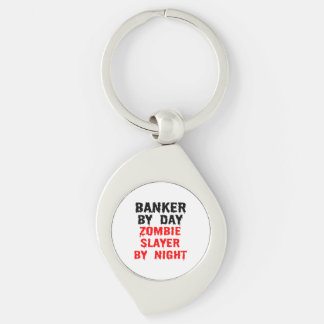 Banker by Day Zombie Slayer by Night Silver-Colored Swirl Key Ring