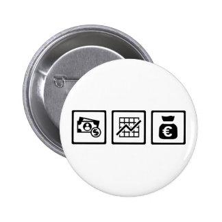 Banker finance symbols 6 cm round badge