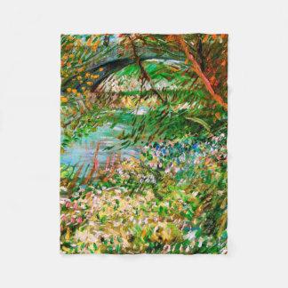 Banks of Seine Pont de Clichy Spring Van Gogh Fine Fleece Blanket
