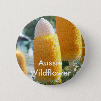 "Banksia ""Golden Candlesticks"" 6 Cm Round Badge"