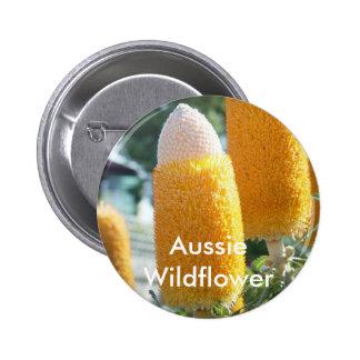 """Banksia """"Golden Candlesticks"""" 6 Cm Round Badge"""