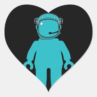 Banksy Style Astronaut Minifig Heart Sticker