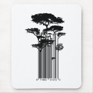 Banksy Style Barcode Trees illustration Mouse Pad